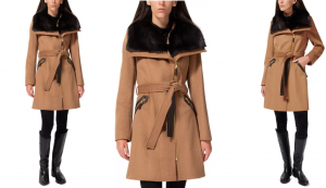 Asymmetrical Faux-Fur-Collar Coat, Created for Macy's