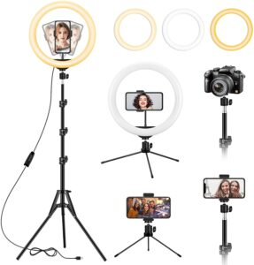 13 inch Ring Light with Floor Tripod and Desk Stand