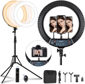 """18 inch LED Ring Light with 70.8"""" Tall Tripod Stand"""